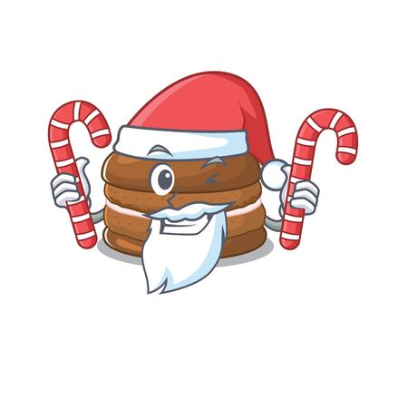 Chocolate macaron Cartoon character wearing Santa costume bringing a candy. Vector illustration