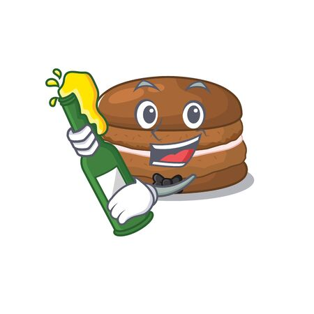 mascot cartoon design of chocolate macaron with bottle of beer
