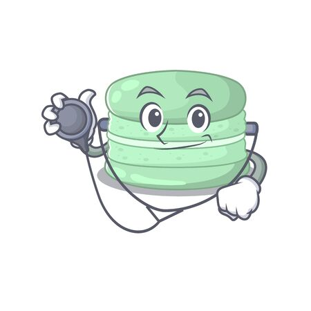 A mascot picture of pistachio macaron cartoon as a Doctor with tools