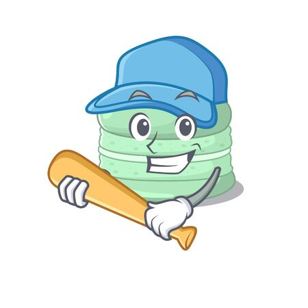 Smiley Funny pistachio macaron a mascot design with baseball