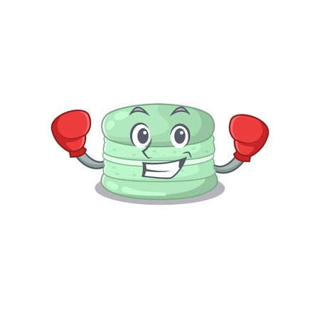 mascot character style of Sporty Boxing pistachio macaron