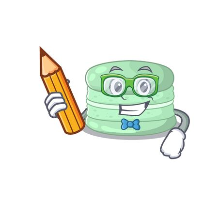 A smart Student pistachio macaron character holding pencil Vetores