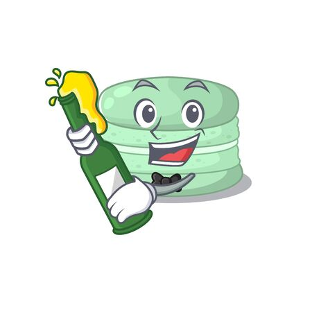 mascot cartoon design of pistachio macaron with bottle of beer. Vector illustration 矢量图像