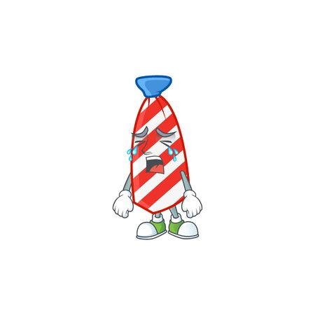 A crying USA stripes tie mascot design style. Vector illustration Illustration