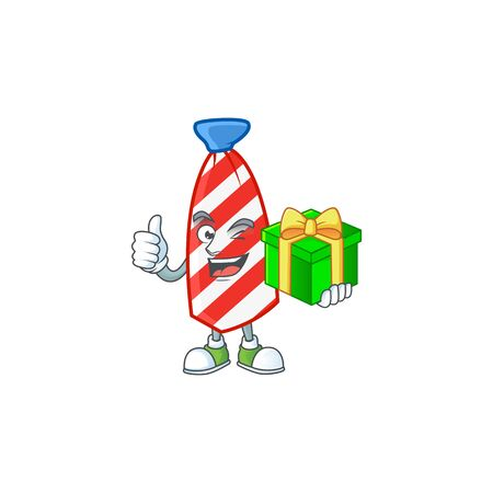 Cute USA stripes tie character holding a gift box