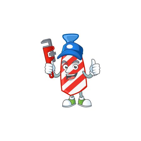 Smiley Plumber USA stripes tie on mascot picture style