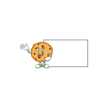 Cheerful chocolate chips cookies mascot style design with whiteboard
