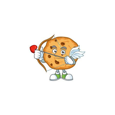 A lovely chocolate chips cookies Cupid with arrow and wings. Vector illustration