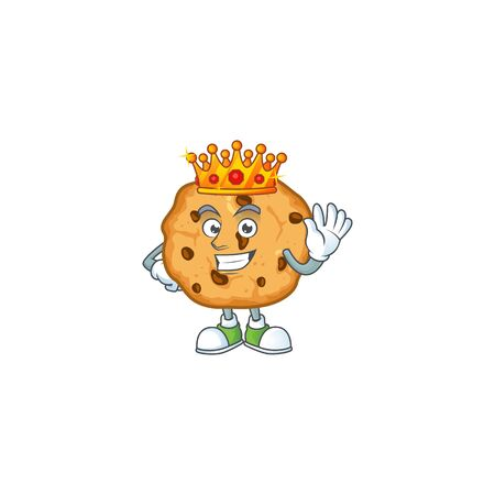 A dazzling of chocolate chips cookies stylized of King on cartoon mascot design. Vector illustration