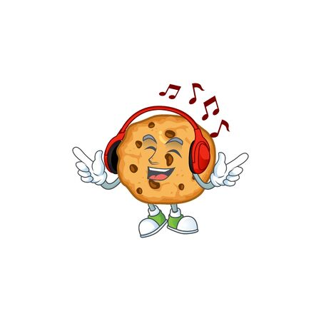 Chocolate chips cookies cartoon character design Listening music on a headset. Vector illustration