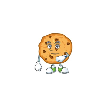 A picture of chocolate chips cookies on a waiting gesture. Vector illustration 向量圖像