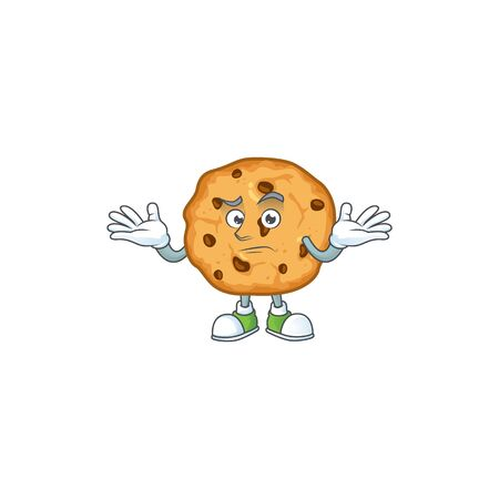 A comical Grinning chocolate chips cookies cartoon design style