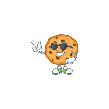 Super cool chocolate chips cookies mascot character wearing black glasses Vectores