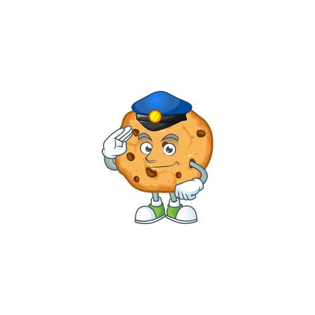 A character design of chocolate chips cookies working as a Police officer