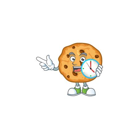 Chocolate chips cookies cartoon character style with a clock