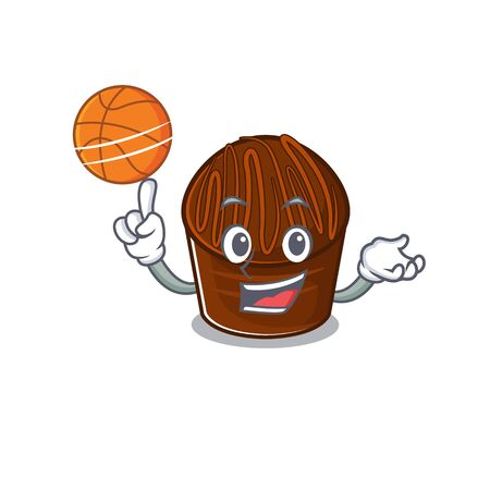 A mascot picture of chocolate candy cartoon character playing basketball. Vector illustration