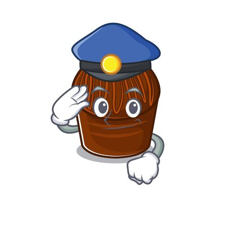 A manly chocolate candy Cartoon concept working as a Police officer. Vector illustration