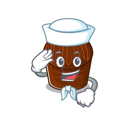 Chocolate candy cartoon concept Sailor wearing hat. Vector illustration