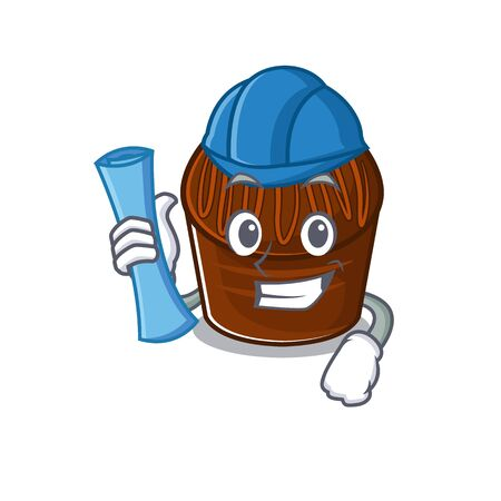 A success of chocolate candy Architect having blue prints and blue helmet. Vector illustration