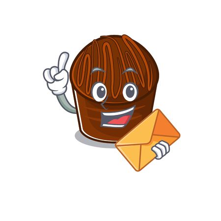 Happy face chocolate candy mascot design with envelope. Vector illustration 矢量图像
