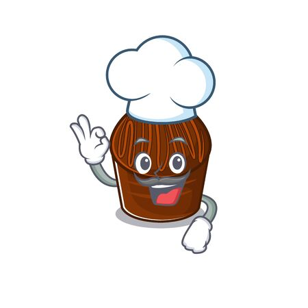 Chocolate candy cartoon character working as a chef and wearing white hat. Vector illustration