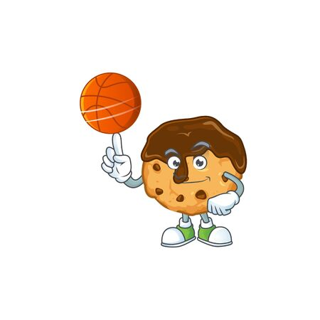a strong chocolate chips with cream cartoon character with a basketball. Vector illustration