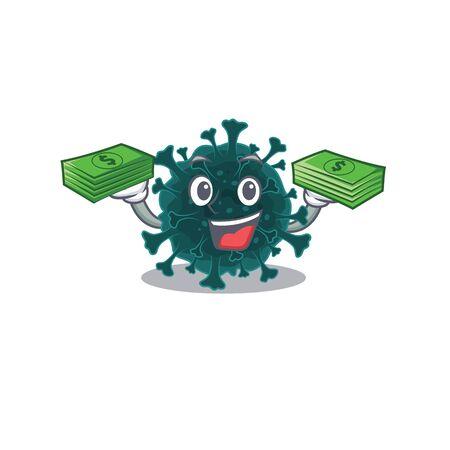 happy face coronavirus COVID 19 character having money on hands