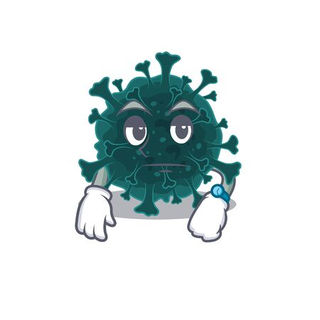 Coronavirus COVID 19 on waiting gesture mascot design style