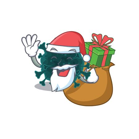 Santa coronavirus COVID 19 Cartoon character design with box of gift Vettoriali