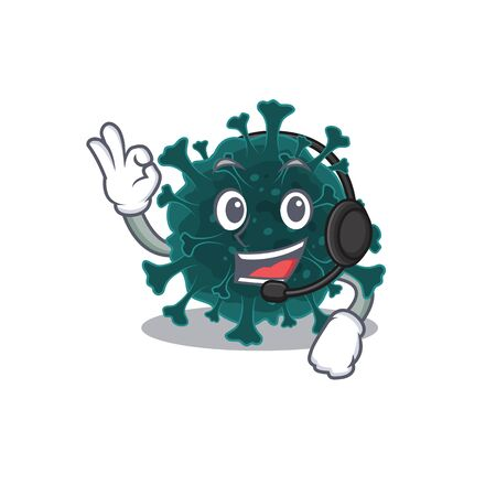 Charming coronavirus COVID 19 cartoon character design wearing headphone Vettoriali