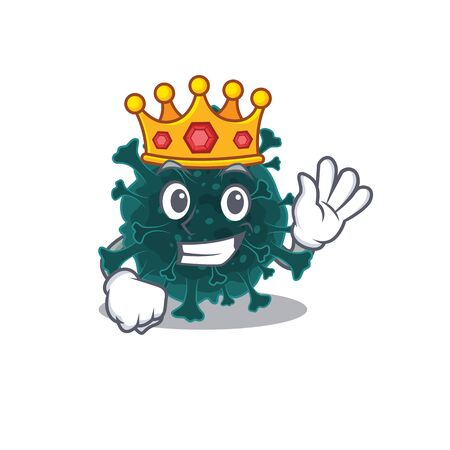 The Royal King of coronavirus COVID 19 cartoon character design with crown