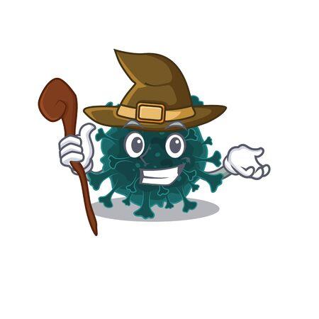 Cute and sneaky Witch coronavirus COVID 19 cartoon design style. Vector illustration Vektorové ilustrace