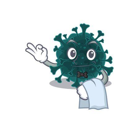 A design of coronavirus COVID 19 cartoon character working as waiter. Vector illustration 向量圖像