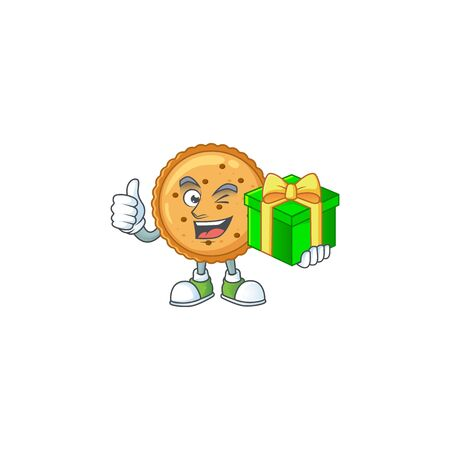 Cute peanut butter cookies character holding a gift box  イラスト・ベクター素材