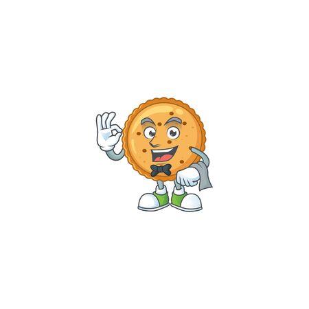 A peanut butter cookies cartoon mascot working as a Waiter