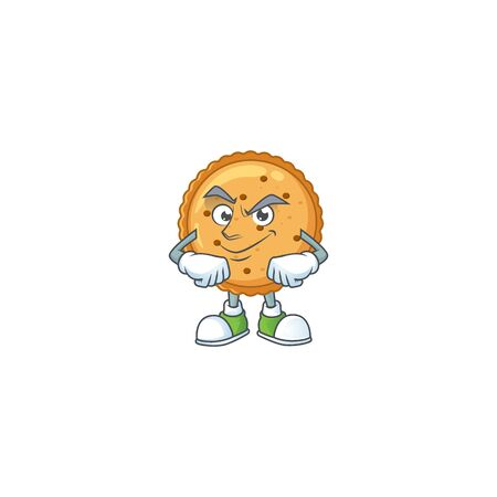 Peanut butter cookies mascot icon design style with Smirking face