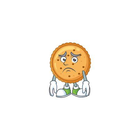 Cartoon character of a peanut butter cookies having an afraid face