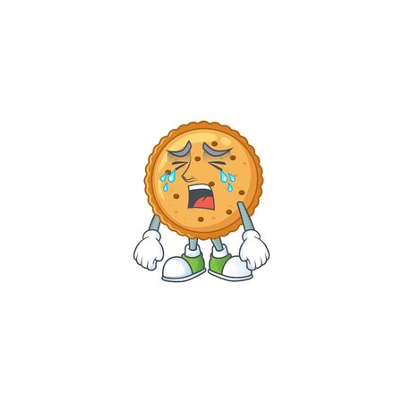 A crying peanut butter cookies mascot design style 向量圖像