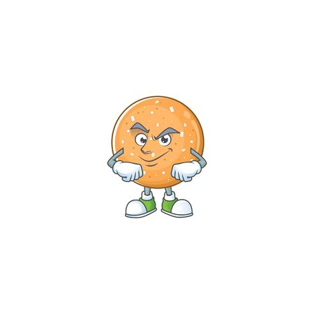 Sugar cookies mascot icon design style with Smirking face