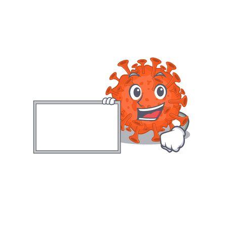 Electron microscopy coronavirus with board cartoon mascot design style. Vector illustration