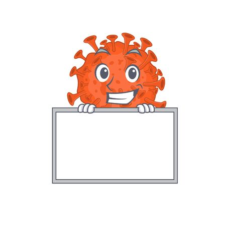 Smiley electron microscope coronavirus cartoon character style bring board. Vector illustration