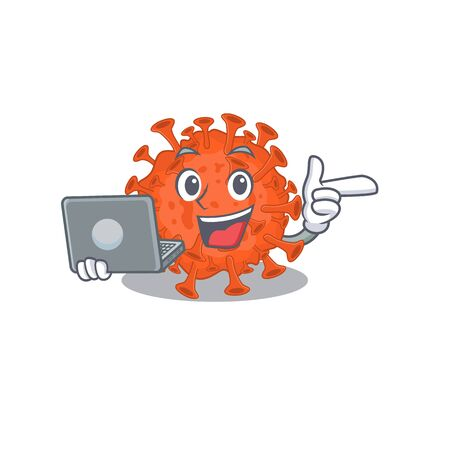 An icon of smart electron microscope coronavirus working with laptop. Vector illustration