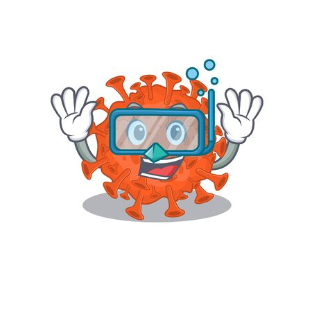 A cartoon picture featuring electron microscope coronavirus wearing Diving glasses. Vector illustration