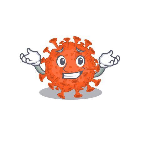 Happy face of electron microscope coronavirus mascot cartoon style. Vector illustration Illustration