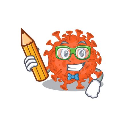 A smart student electron microscope coronavirus character with a pencil and glasses. Vector illustration