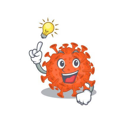 Have an idea gesture of electron microscope coronavirus mascot character design. Vector illustration