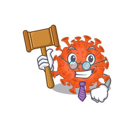 Charismatic Judge electron microscope coronavirus cartoon character design wearing cute glasses. Vector illustration