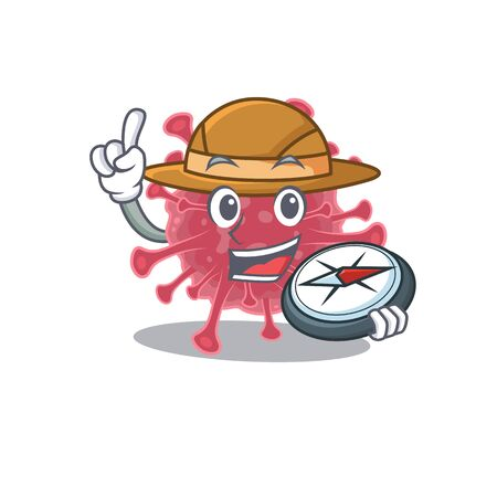 Coronavirus disease an experienced explorer with a compass. Vector illustration
