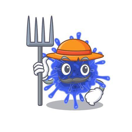 Bacteria coronavirus in Farmer cartoon character with hat and pitchfork. Vector illustration