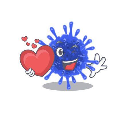 A romantic cartoon design of bacteria coronavirus holding heart. Vector illustration